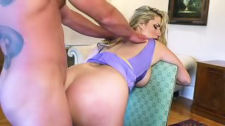Curvy wife Paige Turnah with big booty and massive tits gets her hairless meaty pussy and tight asshole heavily fucked by horny as hell Jay Snake in front of her older husband in steamy cuckold action!