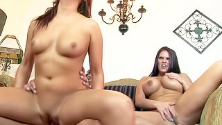 Experienced fucker with big cock Marco Banderas enjoys fucking two whorish brunettes Mackenzee Pierce with huge melons and Tammy that lives to ride on cock in arousing mother and daughter fantasy