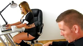 Pretty fair-haired Yuffie Yulan attending a real amateur porn casting at workplace