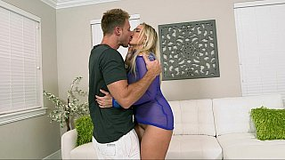 Amazing blonde MILF with young lover
