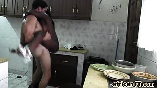Lovely naughty black maid extra pussy service with tourist