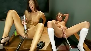 India Summer and Aiden Aspen get more and more pleasure. They spread their legs and get their pussies penetrated by fucking machines. And they play with each other