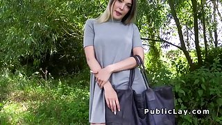 Perfect ass blonde bangs in public for money
