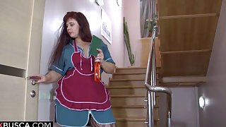 Russian mature maid gets orgasm