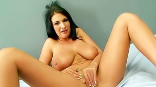 Hot brunette model Bella Blaze with big natural tits and shows off her sexy body and strokes her juicy pussy. Watch her expose her big melons and rub her fully shaved like crazy