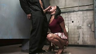 Perfect babe was tied up for fetish games in the basement