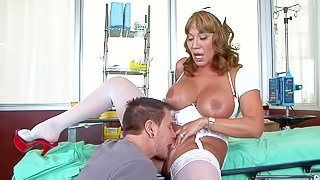 Cock addicted mature tanned asian nurse in white stockings and red stripper shoes gives amazing deep throat to young patient Dane Cross and gets her cunt licked good in hot fantasy